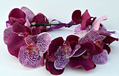 Orchid Flower Crown - Collar - Headpiece  Dog flower crown, bridesmaid flower crown, bride crown, purple, photo prop