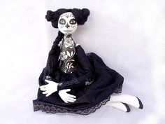 Mexican folk OOAK ART DOLL Day of the Dead Halloween Dia de los muertos  black white soft sculpture soft doll cloth doll
