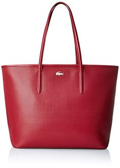 Lacoste Women's Chantaco Medium Tote  Lacoste Womens Medium Shopping Bag With Zipper in Black. Make a bold statement with this functional, roomy bag by Lacoste. Constructed in textured leather with golden embellishments, this purse is made for the busy woman to carry everything she might need when out and about for the day. Wear with a fit-and-flare dress and low heels for an elegant, sophisticated look you can wear at the mall or dinner with friends. . Textured tote featuring dual t..