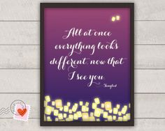disney tangled poster - now that I see you - paper lanterns - nursery or wedding print