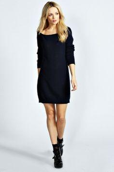 Billie Slash Neck Moss Stitch Jumper Dress - Robes - Vêtements Femme