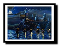 ravgar Harry Potter - Hogwarts Castle Mural Starry Night Canvas Painting Wall Art [16 x 20 inch] Framed:   strongExperience Quality/strongbr/pollistrong/strongWe Use Artist Grade 100% Cotton Canvas for all the paintings./liliOur Prints are water proof & can be Cleaned with a Soft Damp Cloth.br/liliWe have in-house Japanese Giclee Printing & UV Coating Plant from Mimaki. It ensures your painting will last 200 years Hanging indoors./liliAnd of Course the japanese inks used are Eco-Friend...