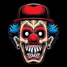 Clown Effrayant Avec Un Chapeau Rouge Ve. Costume Halloween, Fete Halloween, Halloween Vector, Evil Clowns, Scary Clowns, Cartoon Kunst, Cartoon Art, Crane Logo, Art Du Joker