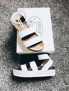 Trending: 2018. White Steve Madden summer platform sandals.