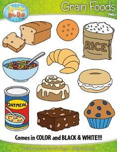 Grain Foods Clipart {Zip-A-Dee-Doo-Dah Designs} - Healthy food time Healthy Food List, Healthy Habits, Healthy Recipes, Cheap Clean Eating, Clean Eating Snacks, No Dairy Recipes, Gourmet Recipes, Apple Benefits, Food Clipart