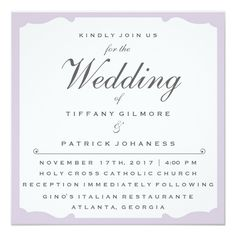 Classic Square Lavender Wedding Invitation