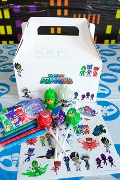 PJ Masks Party Ideas and Printables - Moms & Munchkins Pjmask Party, Party Bags, Party Ideas, Party Time, Pj Masks Party Favors, Festa Pj Masks, Gremlins, 6th Birthday Parties, Birthday Ideas