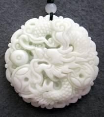 "Chinese Jade Fortune Dragon Coin Amulet Pendant-""Free Shipping""$19.99"