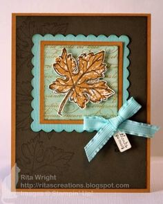handmade card ... Autumn theme ... browns and gold with aqua for contrast ... like the design ... Stampin' Up!