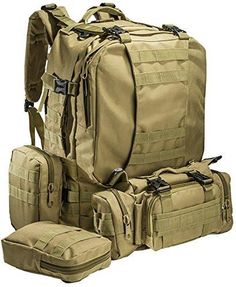 """""""Big Monkey"""" Military Tactical Backpack - 3 Bonus MOLLE Bags - 2.5L Hydration Water Bladder System Included. By Monkey Paks™"""