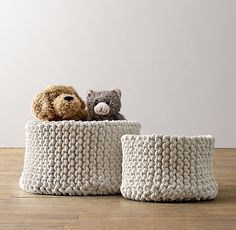 knit cotton storage bins. keep clutter neatly stowed away. #rhbabyandchild