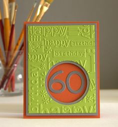 "handmade birthday card for ""Less is More"": Challenge #338 - NO Stamps! challenge .. chartreuse with orange and kraft ... birthday words embossing folder panel with die cut circle window ... age in die cut numbers ..."