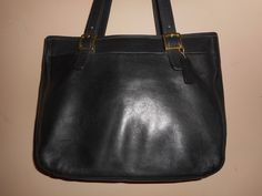 "LARGE VINTAGE COACH 15"" x 11"" Black Leather Tote/Shoulder Bag #J8C-6006 W/Hang Tag by COACHCROSSING on Etsy"