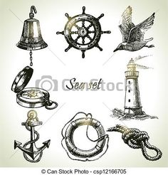 Vector - Sea set of nautical design elements. Hand drawn illustrations - stock illustration, royalty free illustrations, stock clip art icon, stock clipart icons, logo, line art, EPS picture, pictures, graphic, graphics, drawing, drawings, vector image, artwork, EPS vector art