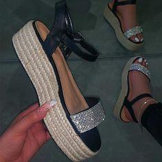 Women Outdoor Beach Sandals High Heel Ladies Sexy Bling Sandals Leisure Buckle Slippers – #sandals #sandalssummer #sandalsoutfit #sandalsheelschunky White Espadrilles, Espadrille Sandals, Strap Sandals, Bling Sandals, Denim Sandals, Sandals Outfit, Fashion Sandals, Shoes Sandals, Heeled Flip Flops