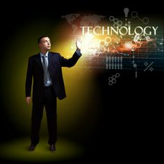 Businessman standing with modern technology Information Technology, Cool Photos, Concept, Amazing, Modern, People, Trendy Tree, Computer Technology, People Illustration