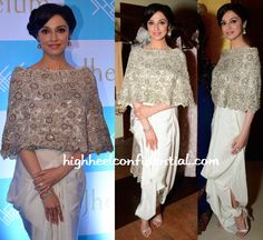Divya Khosla Kumar picked Anamika Khanna to wear. Pairing the embellished cape and draped pants with silver sandals