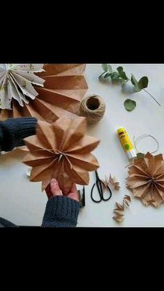 Diy Crafts For Home Decor, Diy Crafts Hacks, Diy Arts And Crafts, Diy Crafts To Sell, Paper Bag Crafts, Tissue Paper Flowers, Paper Rosettes, Paper Decorations, Flower Crafts