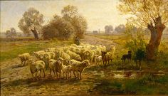 Paul Weber (German, 1823-1916). Shepherd with his Flock, ca. 1880. Charles and Emma Frye Collection, 1952.186
