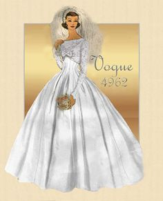 Vintage Vogue 4962-Traditional Bridal Gown from the 1950s