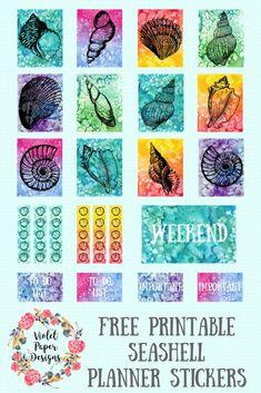 Free Printable Seashell Planner Stickers