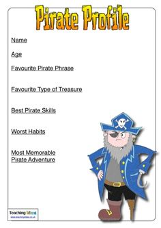Pirate Profiles Pirate Phrases, Pirate Adventure, Pirate Life, Character Profile, Pirate Theme, How To Memorize Things, Teaching, Children, Mermaids