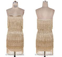 GOLD FRINGE DRESS Flapper 1920s Vintage Cocktail Mini S M L