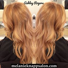 Strawberry blonde balayage by Ashley Rogers.