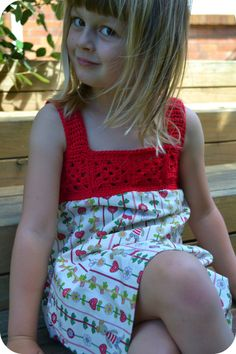Red Dress pattern by Janette Williams Crochet yoke for girls' dress.Crochet yoke for girls' dress. Crochet Tutu, Crochet Yoke, Crochet Fabric, Crochet Girls, Crochet For Kids, Crochet Patterns, Crochet Dresses, Dress Patterns, Pattern Dress