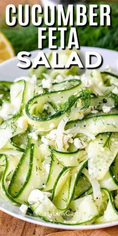 Cucumber Feta Salad, Cucumber Recipes, Salad Recipes, Kale Salads, Keto Side Dishes, Side Dishes Easy, Cooking Recipes, Healthy Recipes, Healthy Eats