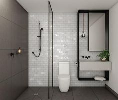 ultra compact bathroom design small bathroom remodeling ideas reflecting elegantly simple latest trends remodeling ideas small bathroom and bathroom designs ultra modern small bathroom designs Modern Small Bathrooms, Modern Bathroom Design, Bathroom Interior Design, Modern Interior Design, Interior Styling, Black Bathrooms, Contemporary Interior, Retro Bathrooms, Contemporary Office