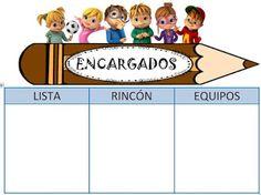 SAPOS Y CULEBRAS: CARTEL ENCARGADOS DE CLASE Class Dojo, Family Guy, Teacher, Guys, Fictional Characters, Classroom Setup, Children Garden, Crossword Puzzles