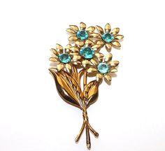 Rhinestone Flower Brooch  Large Vintage Blue by LoriLakeTreasures