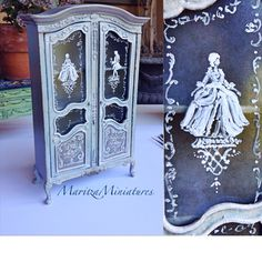 Painted French Armoire with painted glass By MaritzaMiniatures
