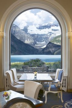 Rocky Mountain Views from dining table at the Fairmont Chateau Lake Louise