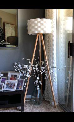 Bijou Led Tripod Floor Lamp For Modern Living Rooms Natural Wood Color