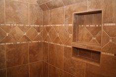 Cool corner shower shelf tile Living Building Supplies Garage Doors Kitchen sunroom Midcentury Compact Tub Tile, Tile Floor, Built In Shelves, Built Ins, Shower Soap, Shower Shelves, Master Bath Remodel, Granite Countertops, New Homes