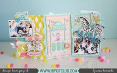 Create a mini album or folded frame with the August 2017 Hip Kits just like designer has beautifully created! Scrapbooking, Scrapbook Albums, Scrapbook Paper, Scrapbook Layouts, Hip Kit Club, Ticket Design, Mini Albums Scrap, Rolodex, Crate Paper