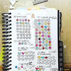 here's how @reson8ed hand-stamped goal trackers look as things that to fill in.  I'm obsessed! #gettoworkbook Project Pat, Project Life, Photo Instagram, Instagram Posts, Art Journal Inspiration, Self Improvement, Scrapbook Pages, Hand Stamped, Bullet Journal