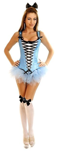 Another gorgeous Alice in Wonderland.. 4 PC Sexy Alice Costume - Costume includes corset with front busk closure, lace-up back and matching thong; Blue Pettiskirt; Black Hairbow; Stockings.
