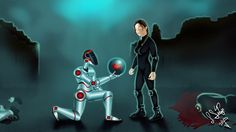 Love & War - Challenge of the month  #COTMROBOMANCE A illustration that shows a romantic scene between a Robot and a Human.