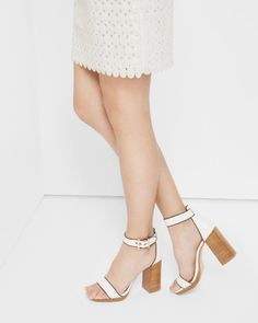 3ec0ec186 Ted Baker London LORNO Open toe block heeled platform sandals  185 COLOR   White Block Heel