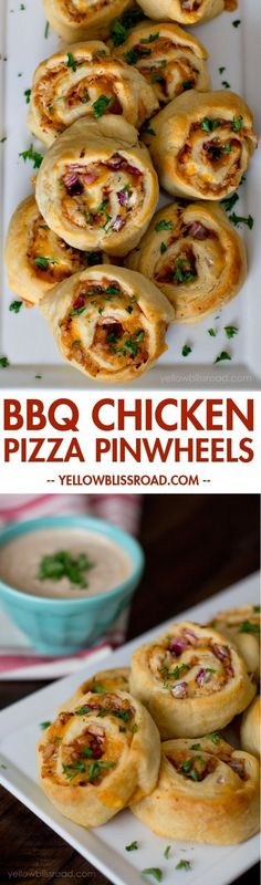 BBQ Chicken Pizza Pinwheels - this was easy enough and pretty tasty with extra BBQ sauce to dip in. Not as good as an actual pizza though, imo Bite Size Appetizers, Appetizers For Party, Appetizer Recipes, Dinner Recipes, Appetizer Crockpot, Tailgate Appetizers, Pizza Appetizers, Healthy Appetizers, Sandwich Recipes