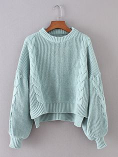 To find out about the Lantern Sleeve Cable Knit Sweater at SHEIN, part of our latest Sweaters ready to shop online today! Knit Fashion, Teen Fashion, Winter Fashion, Fashion Outfits, Fashion Styles, Trendy Outfits, Fall Outfits, Mode Hijab, Cable Knit Sweaters