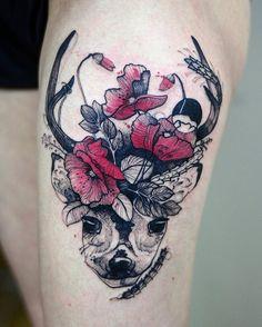 Deer with flower tattoo - 45 Inspiring Deer Tattoo Designs  <3 <3