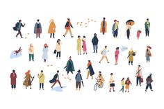 Crowd of tiny people dressed in autumn clothes or outerwear walking on street and performing outdoor activities. Group of men and women isolated on white background. People Illustration, Character Illustration, Graphic Illustration, People Crowd, Man Icon, Architecture People, Walking Street, Autumn Clothes, People Dress