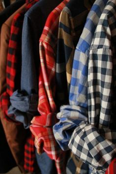 plaids with rolled sleeves