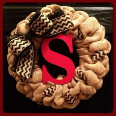 Chevron Burlap Wreath with Initial Front by SheekBurlapDesigns, $64.50 Chevron Burlap Wreaths, Monogram Wreath, Monogram Gifts, Wreath Fall, Wreaths For Front Door, Door Wreaths, Burlap Crafts, Diy Crafts, Year Round Wreath