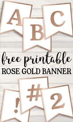Banner alphabet letters to make a cust… Free Printable Rose Gold Banner Template. Banner alphabet letters to make a custom party banner for a birthday, wedding, baby shower or event. Happy Birthday Banner Printable, Birthday Banner Template, Free Printable Banner Letters, Templates Printable Free, Birthday Banners, Box Templates, Free Printable Wedding, Bunting Template, Origami Templates