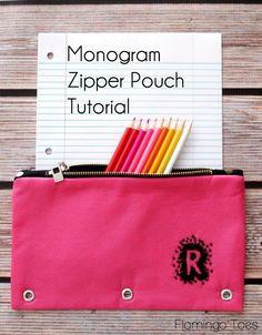 Monogram Zipper Pouch Tutorial